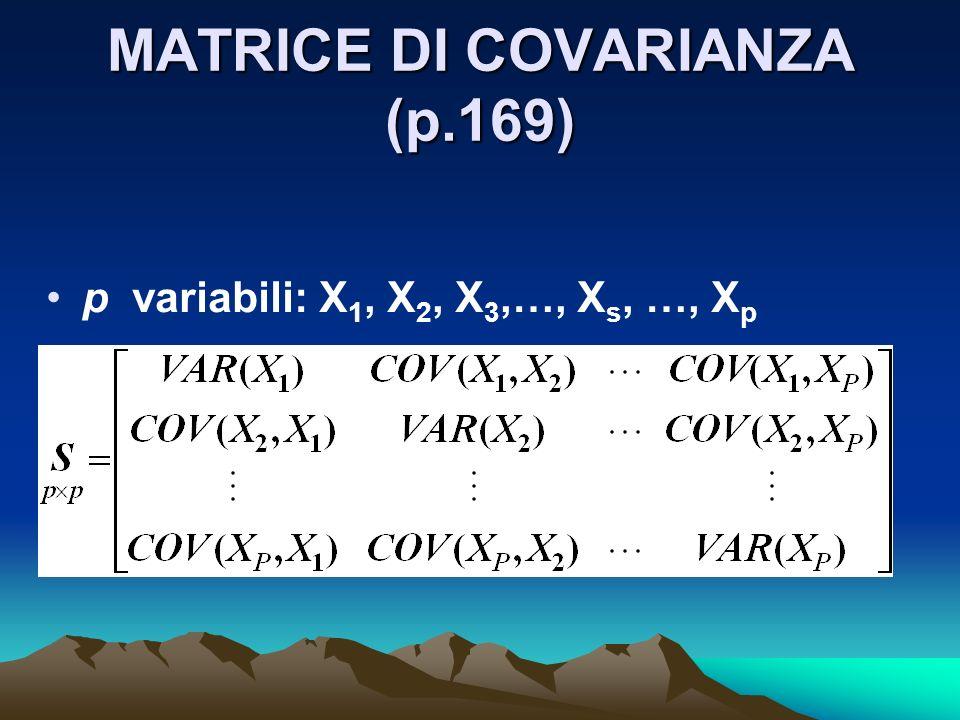 MATRICE DI COVARIANZA (p.169) p variabili: X 1, X 2, X 3,…, X s, …, X p