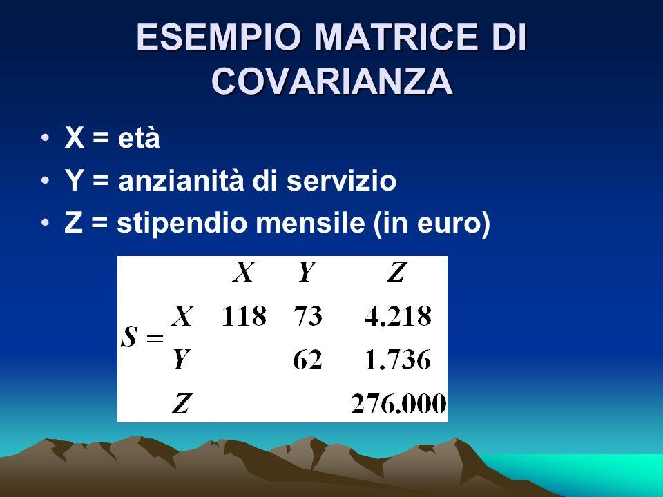 ESEMPIO MATRICE DI COVARIANZA X = età Y = anzianità di servizio Z = stipendio mensile (in euro)