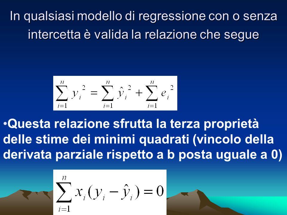 In qualsiasi modello di regressione con o senza intercetta è valida la relazione che segue Questa relazione sfrutta la terza proprietà delle stime dei minimi quadrati (vincolo della derivata parziale rispetto a b posta uguale a 0)