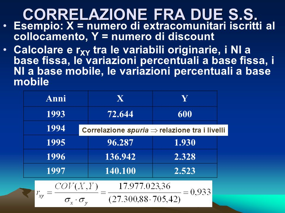 CORRELAZIONE FRA DUE S.S. Esempio: X = numero di extracomunitari iscritti al collocamento, Y = numero di discount Calcolare e r XY tra le variabili or