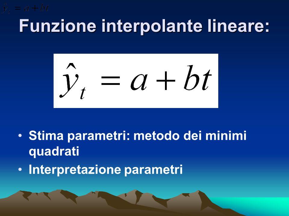 Funzione interpolante lineare: Stima parametri: metodo dei minimi quadrati Interpretazione parametri