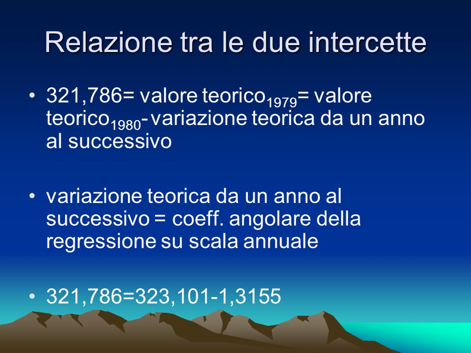 Relazione tra le due intercette 321,786= valore teorico 1979 = valore teorico 1980 - variazione teorica da un anno al successivo variazione teorica da un anno al successivo = coeff.