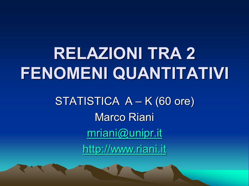 RELAZIONI TRA 2 FENOMENI QUANTITATIVI STATISTICA A – K (60 ore) Marco Riani mriani@unipr.it http://www.riani.it