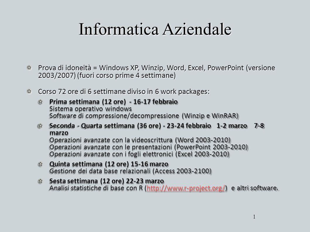 Informatica Aziendale Prova di idoneità = Windows XP, Winzip, Word, Excel, PowerPoint (versione 2003/2007) (fuori corso prime 4 settimane) Corso 72 or