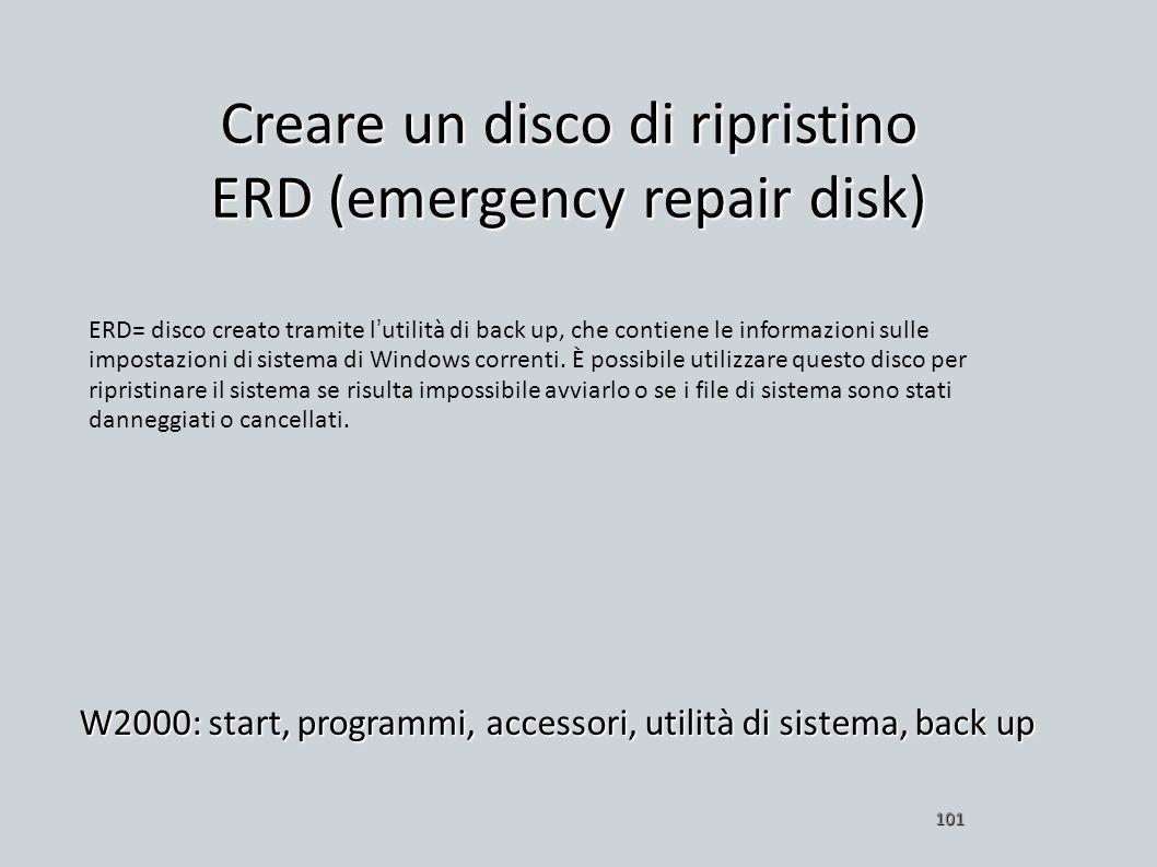 Creare un disco di ripristino ERD (emergency repair disk) W2000: start, programmi, accessori, utilità di sistema, back up 101 ERD= disco creato tramit
