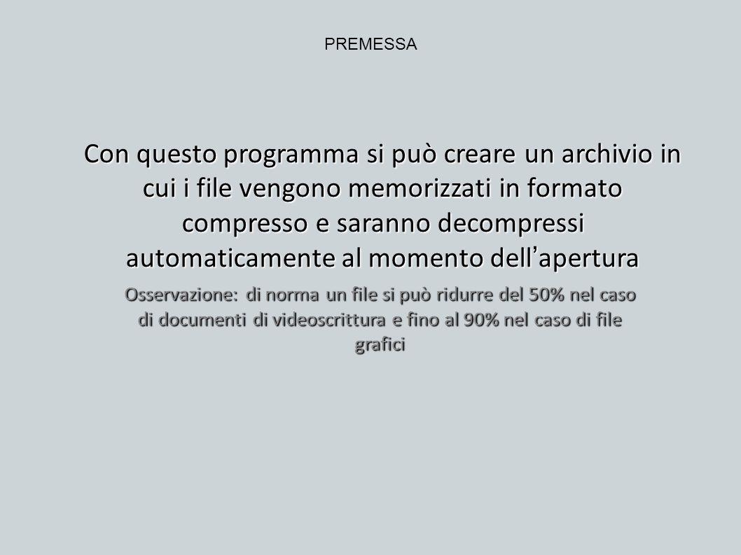 Con questo programma si può creare un archivio in cui i file vengono memorizzati in formato compresso e saranno decompressi automaticamente al momento