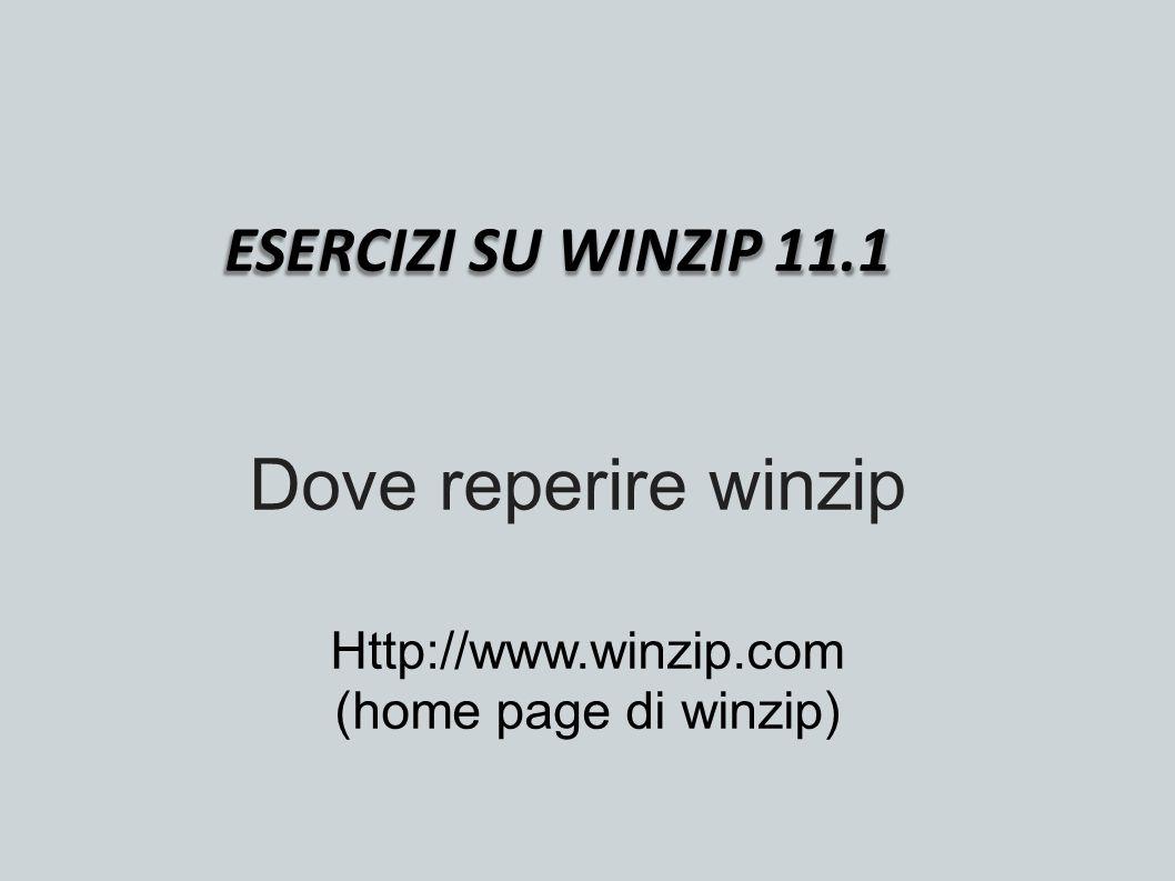 ESERCIZI SU WINZIP 11.1 Dove reperire winzip Http://www.winzip.com (home page di winzip)