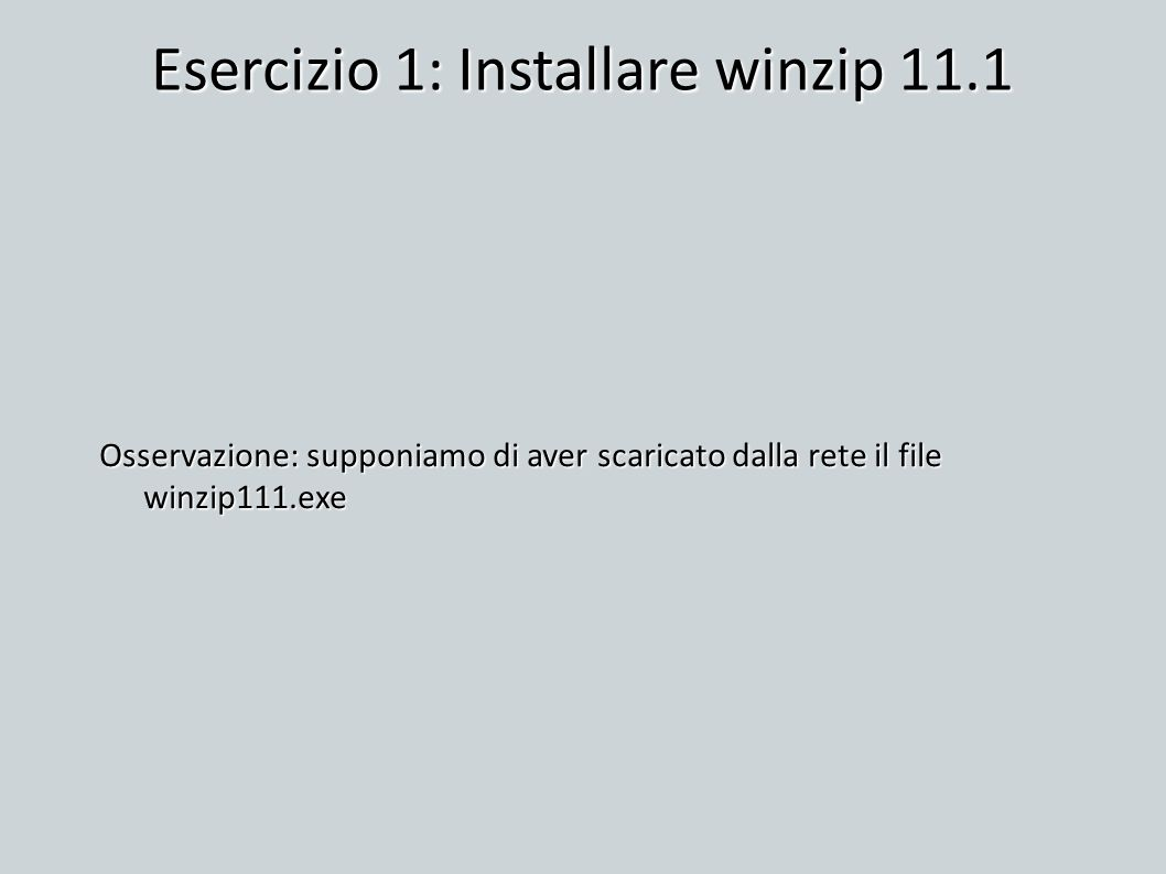 Esercizio 1: Installare winzip 11.1 Osservazione: supponiamo di aver scaricato dalla rete il file winzip111.exe