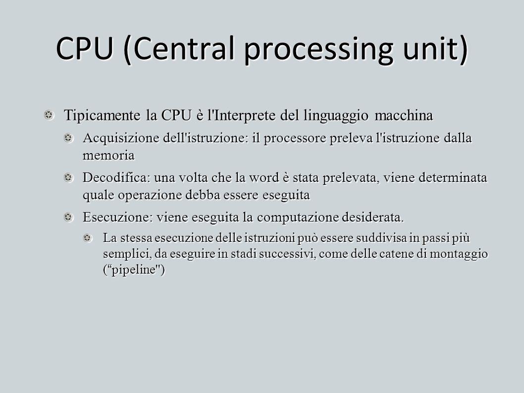 CPU (Central processing unit) Tipicamente la CPU è l'Interprete del linguaggio macchina Acquisizione dell'istruzione: il processore preleva l'istruzio