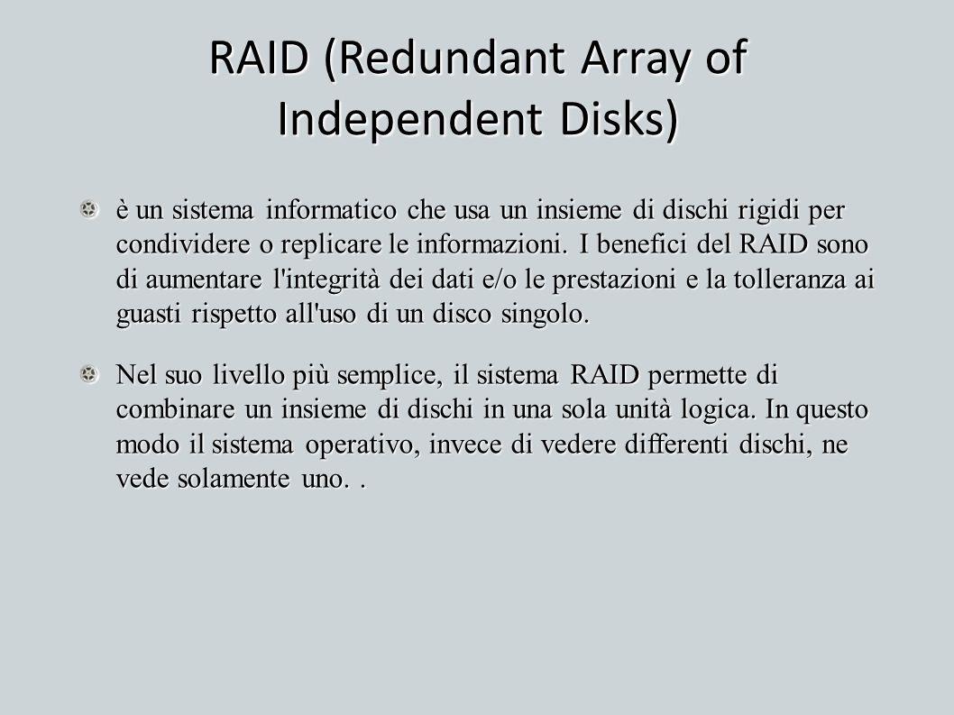 RAID (Redundant Array of Independent Disks) è un sistema informatico che usa un insieme di dischi rigidi per condividere o replicare le informazioni.
