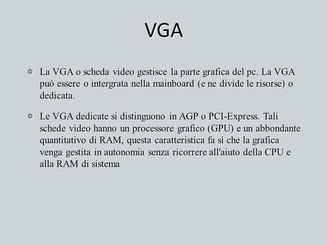VGA La VGA o scheda video gestisce la parte grafica del pc. La VGA può essere o intergrata nella mainboard (e ne divide le risorse) o dedicata. Le VGA