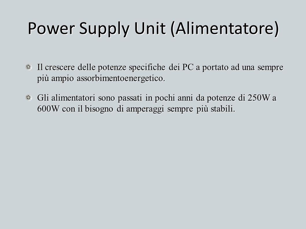 Power Supply Unit (Alimentatore) Il crescere delle potenze specifiche dei PC a portato ad una sempre più ampio assorbimentoenergetico. Gli alimentator