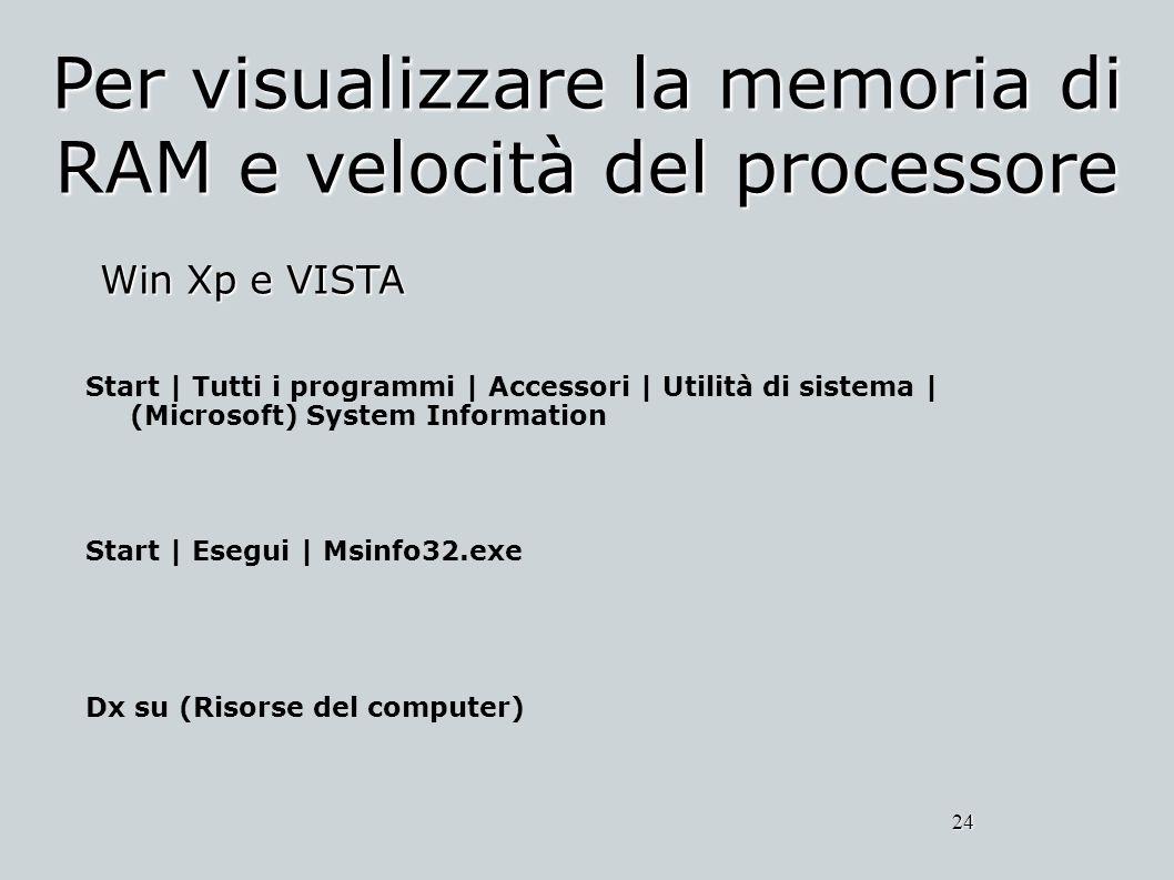 Per visualizzare la memoria di RAM e velocità del processore Win Xp e VISTA 24 Start | Tutti i programmi | Accessori | Utilità di sistema | (Microsoft