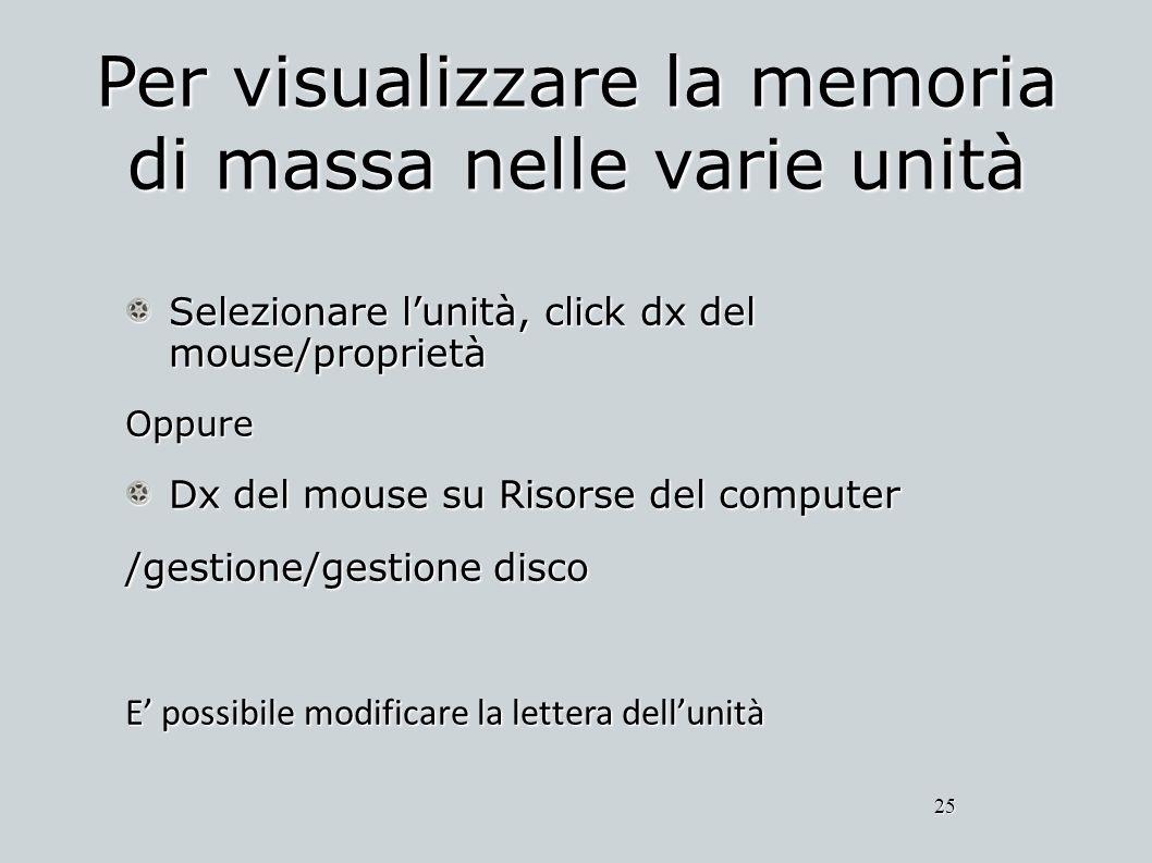 Per visualizzare la memoria di massa nelle varie unità Selezionare lunità, click dx del mouse/proprietà Oppure Dx del mouse su Risorse del computer /g
