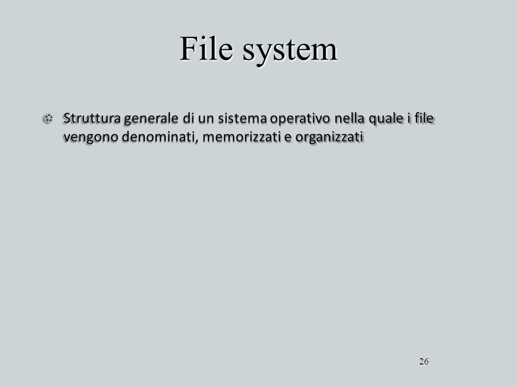 File system Struttura generale di un sistema operativo nella quale i file vengono denominati, memorizzati e organizzati 26