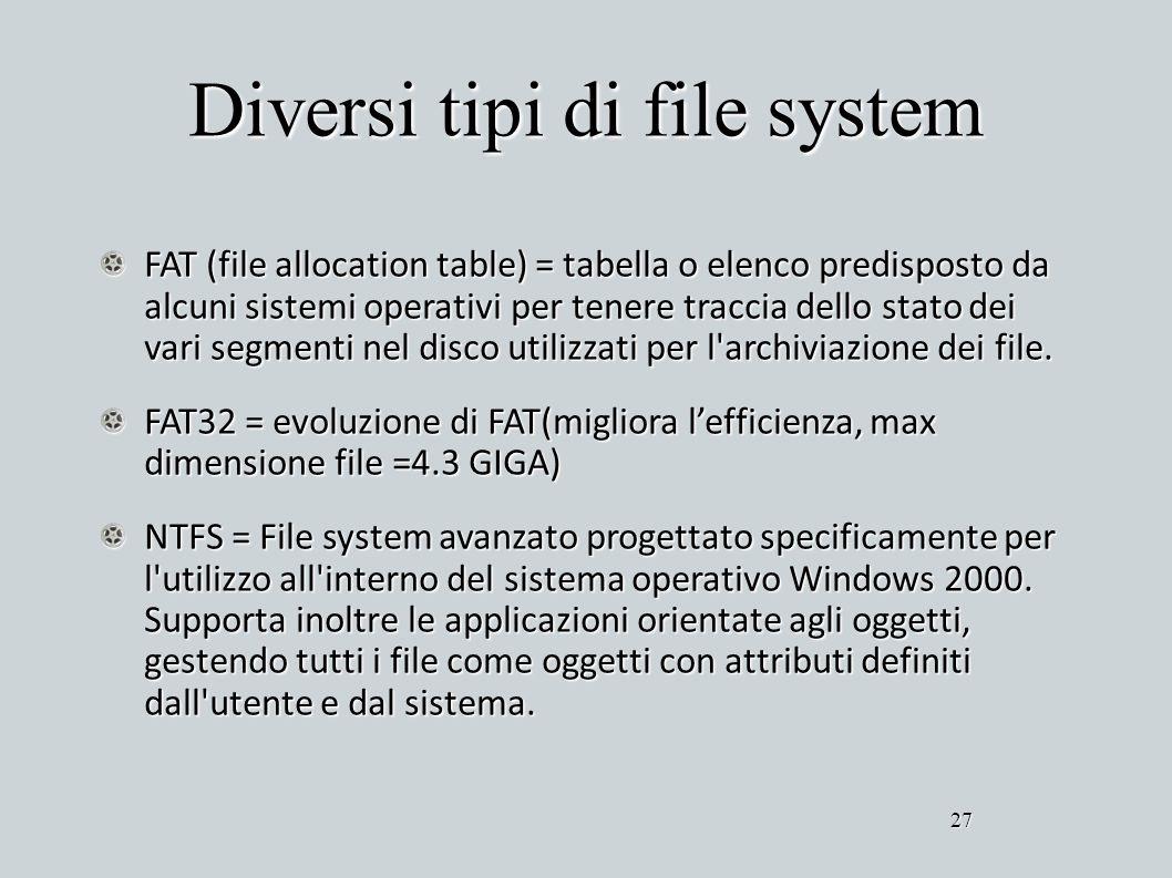 Diversi tipi di file system FAT (file allocation table) = tabella o elenco predisposto da alcuni sistemi operativi per tenere traccia dello stato dei