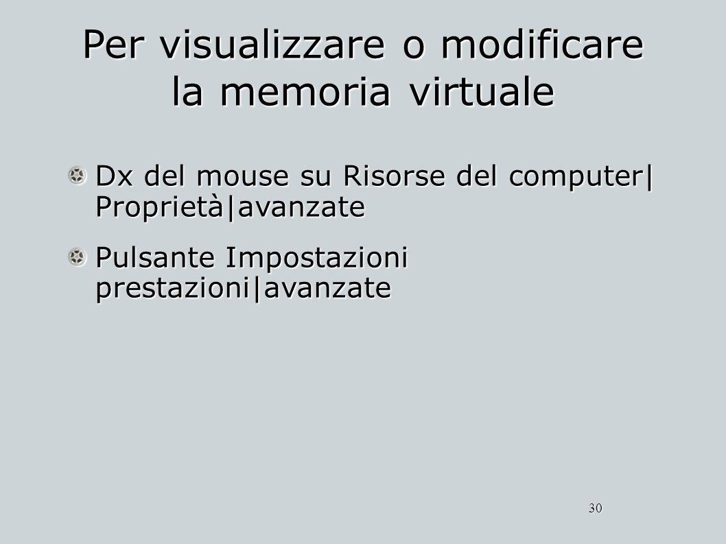 Per visualizzare o modificare la memoria virtuale Dx del mouse su Risorse del computer| Proprietà|avanzate Pulsante Impostazioni prestazioni|avanzate