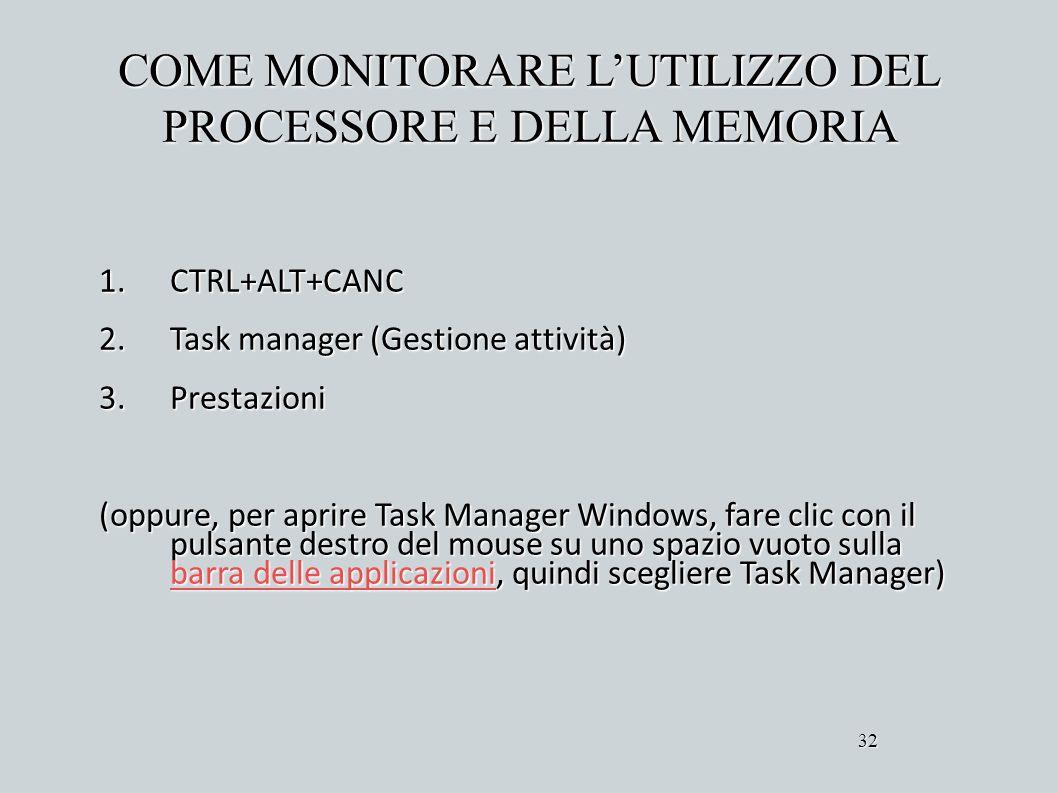 COME MONITORARE LUTILIZZO DEL PROCESSORE E DELLA MEMORIA 1.CTRL+ALT+CANC 2.Task manager (Gestione attività) 3.Prestazioni (oppure, per aprire Task Man