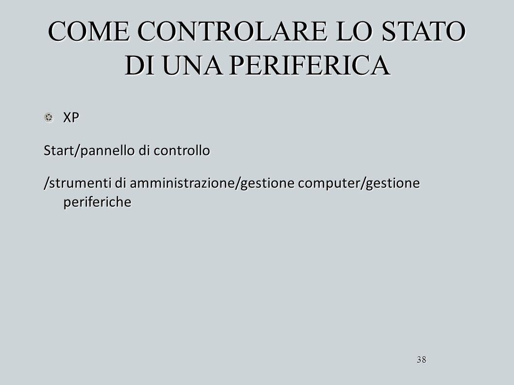COME CONTROLARE LO STATO DI UNA PERIFERICA XP Start/pannello di controllo /strumenti di amministrazione/gestione computer/gestione periferiche 38