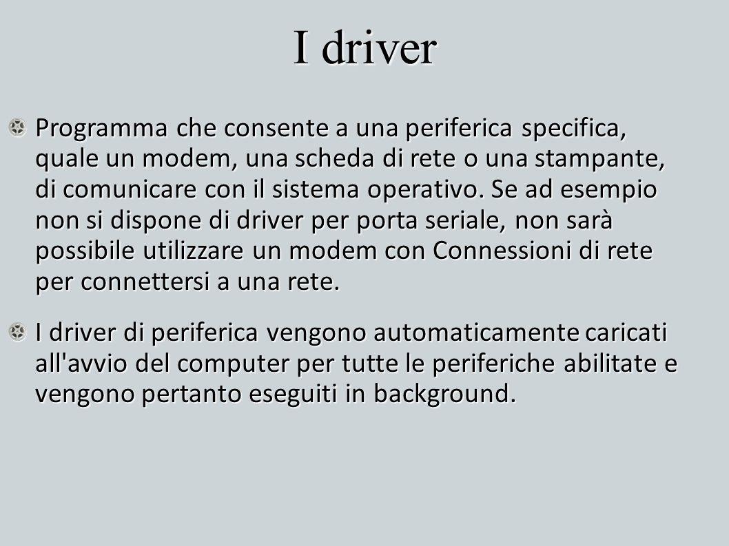 I driver Programma che consente a una periferica specifica, quale un modem, una scheda di rete o una stampante, di comunicare con il sistema operativo