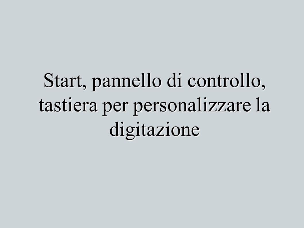 Start, pannello di controllo, tastiera per personalizzare la digitazione