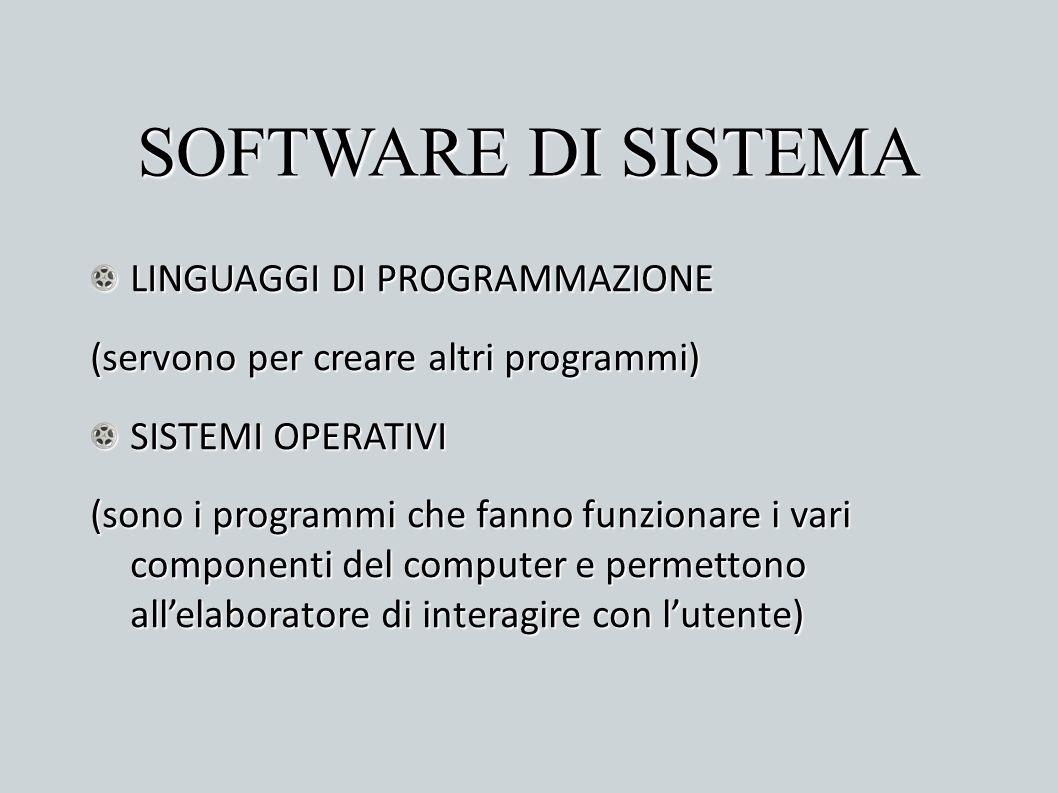 SOFTWARE DI SISTEMA LINGUAGGI DI PROGRAMMAZIONE (servono per creare altri programmi) SISTEMI OPERATIVI (sono i programmi che fanno funzionare i vari c