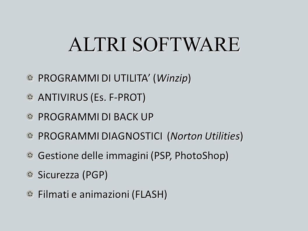 ALTRI SOFTWARE PROGRAMMI DI UTILITA (Winzip) ANTIVIRUS (Es. F-PROT) PROGRAMMI DI BACK UP PROGRAMMI DIAGNOSTICI (Norton Utilities) Gestione delle immag