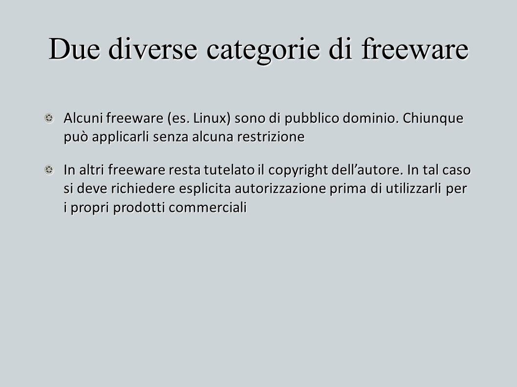 Due diverse categorie di freeware Alcuni freeware (es. Linux) sono di pubblico dominio. Chiunque può applicarli senza alcuna restrizione In altri free