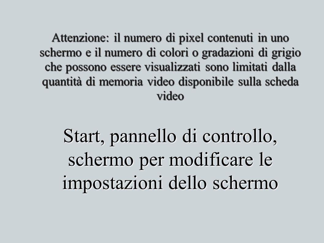 Start, pannello di controllo, schermo per modificare le impostazioni dello schermo Attenzione: il numero di pixel contenuti in uno schermo e il numero