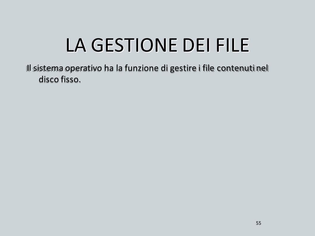 LA GESTIONE DEI FILE Il sistema operativo ha la funzione di gestire i file contenuti nel disco fisso. 55