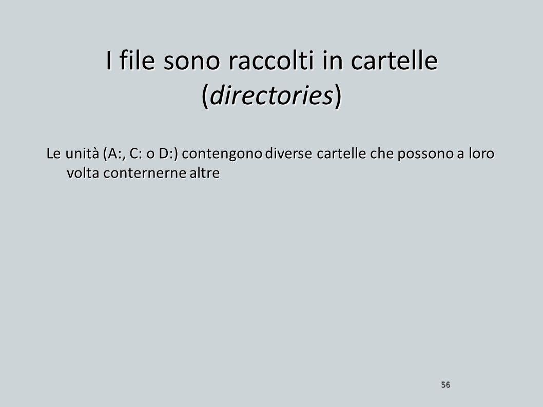 I file sono raccolti in cartelle (directories) Le unità (A:, C: o D:) contengono diverse cartelle che possono a loro volta conternerne altre 56