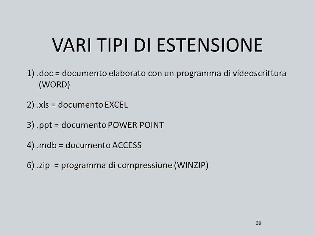 VARI TIPI DI ESTENSIONE 1).doc = documento elaborato con un programma di videoscrittura (WORD) 2).xls = documento EXCEL 3).ppt = documento POWER POINT