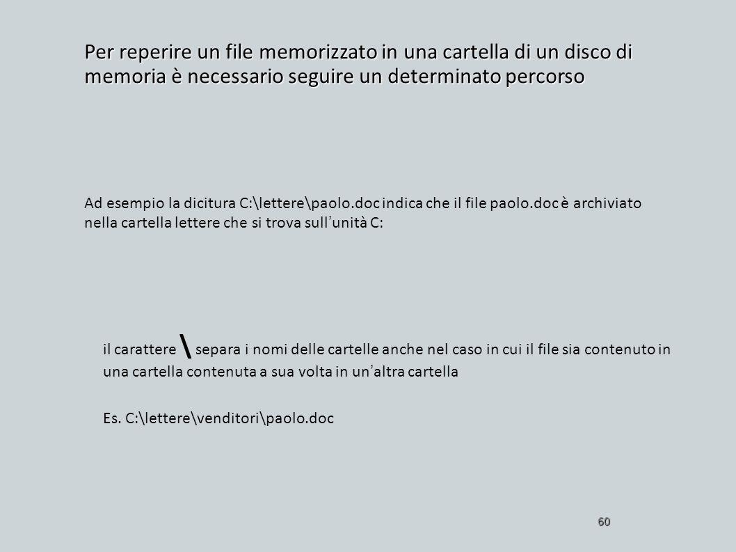Per reperire un file memorizzato in una cartella di un disco di memoria è necessario seguire un determinato percorso 60 Ad esempio la dicitura C:\lett
