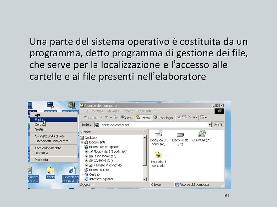 Una parte del sistema operativo è costituita da un programma, detto programma di gestione dei file, che serve per la localizzazione e laccesso alle ca