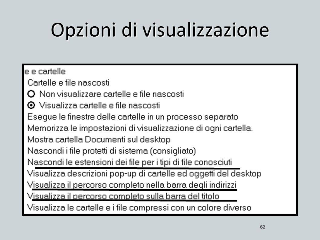 Opzioni di visualizzazione 62