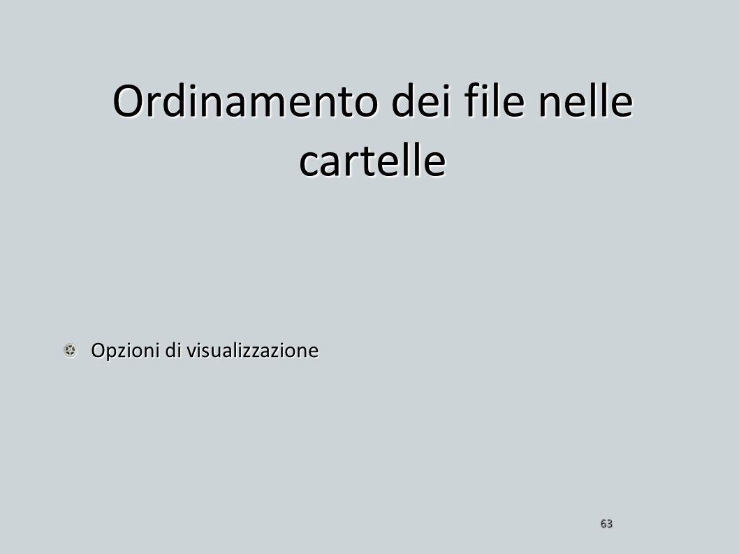 Ordinamento dei file nelle cartelle Opzioni di visualizzazione 63