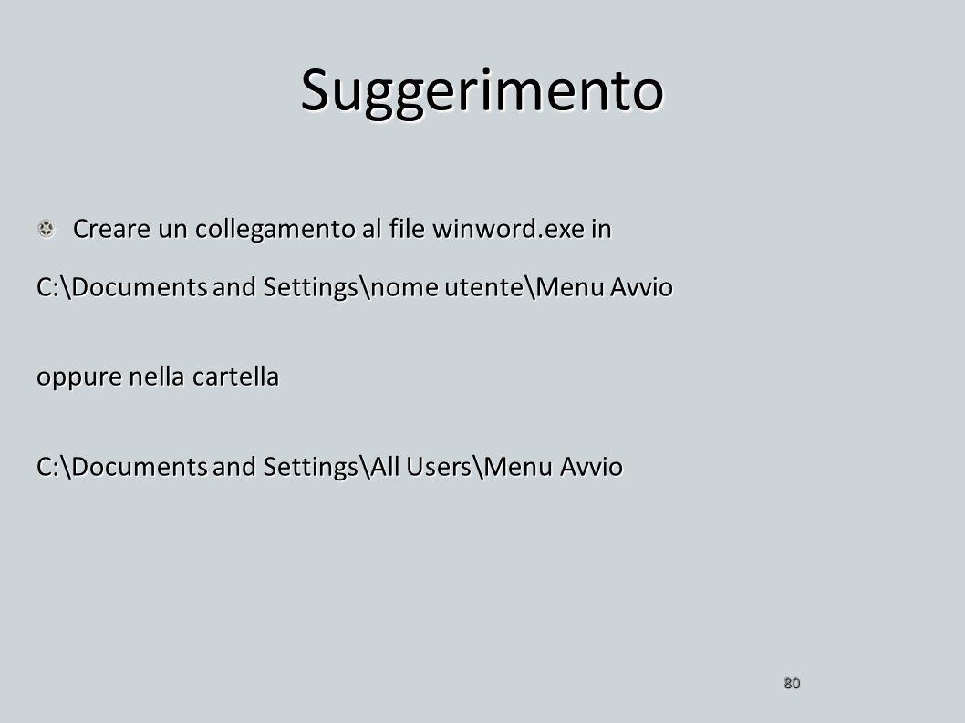 Suggerimento Creare un collegamento al file winword.exe in C:\Documents and Settings\nome utente\Menu Avvio oppure nella cartella C:\Documents and Set
