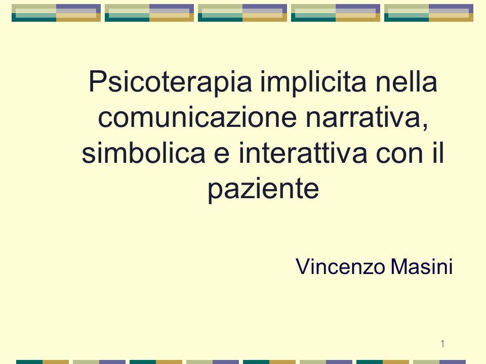 1 Psicoterapia implicita nella comunicazione narrativa, simbolica e interattiva con il paziente Vincenzo Masini