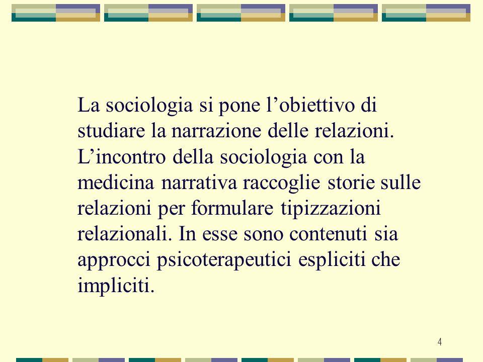 4 La sociologia si pone lobiettivo di studiare la narrazione delle relazioni. Lincontro della sociologia con la medicina narrativa raccoglie storie su