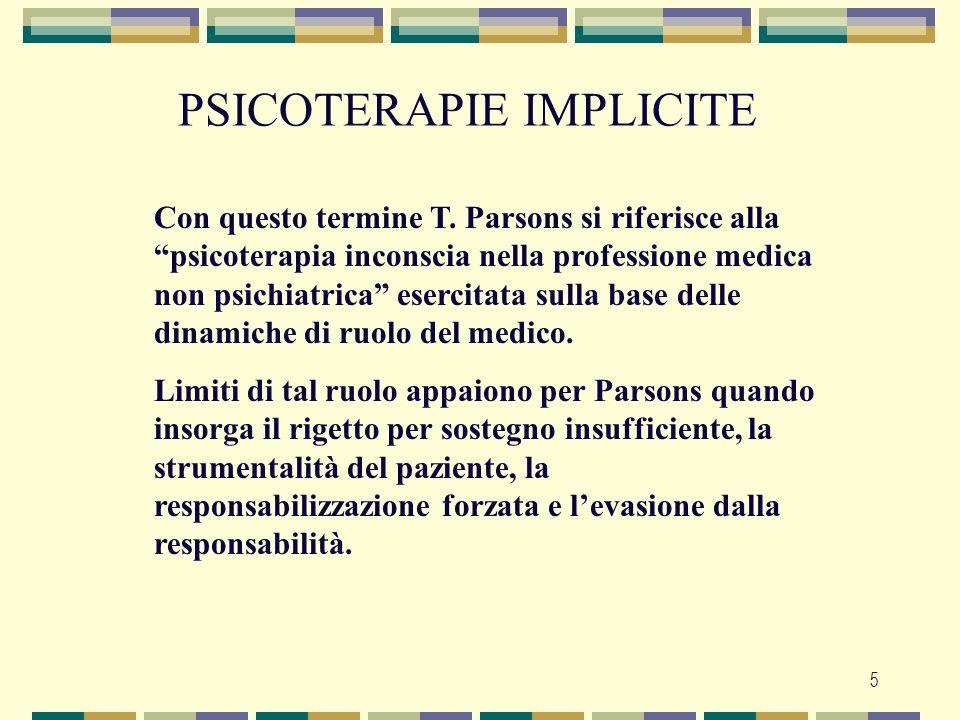 5 PSICOTERAPIE IMPLICITE Con questo termine T. Parsons si riferisce alla psicoterapia inconscia nella professione medica non psichiatrica esercitata s