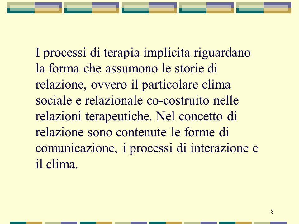 8 I processi di terapia implicita riguardano la forma che assumono le storie di relazione, ovvero il particolare clima sociale e relazionale co-costru