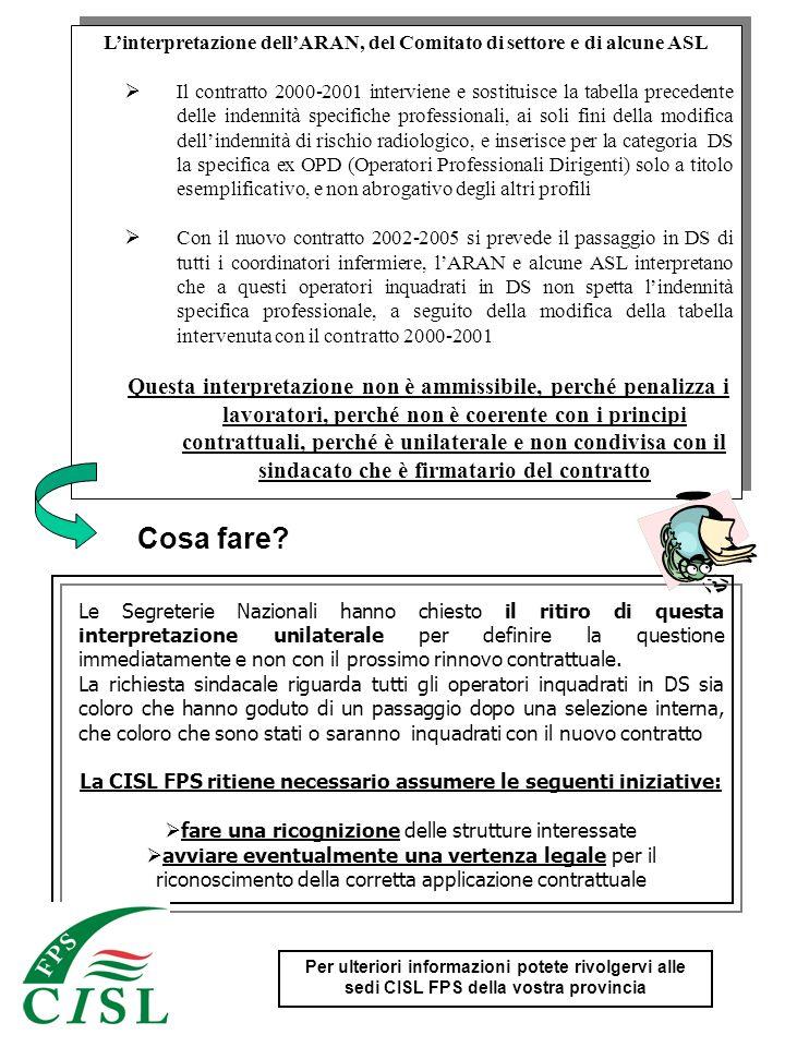 Linterpretazione dellARAN, del Comitato di settore e di alcune ASL Il contratto 2000-2001 interviene e sostituisce la tabella precedente delle indenni