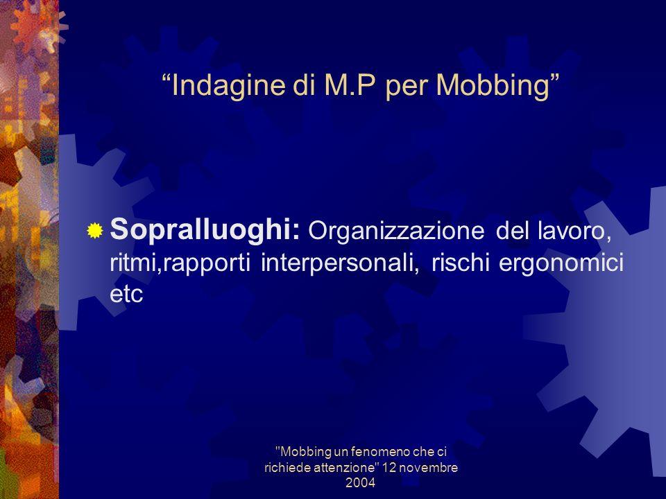 Mobbing un fenomeno che ci richiede attenzione 12 novembre 2004 Indagine di M.P Sopralluoghi: ciclo tecnologico,sostanze, macchine, protezioni,aspirazioni etc