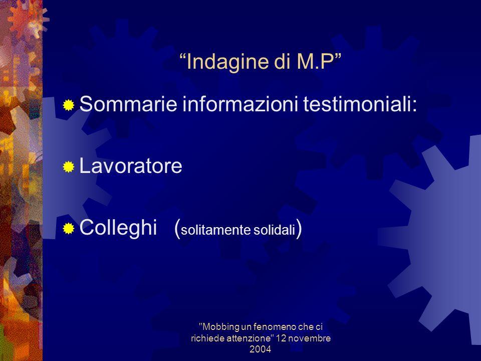 Mobbing un fenomeno che ci richiede attenzione 12 novembre 2004 Indagine di M.P per Mobbing Sopralluoghi: Organizzazione del lavoro, ritmi,rapporti interpersonali, rischi ergonomici etc