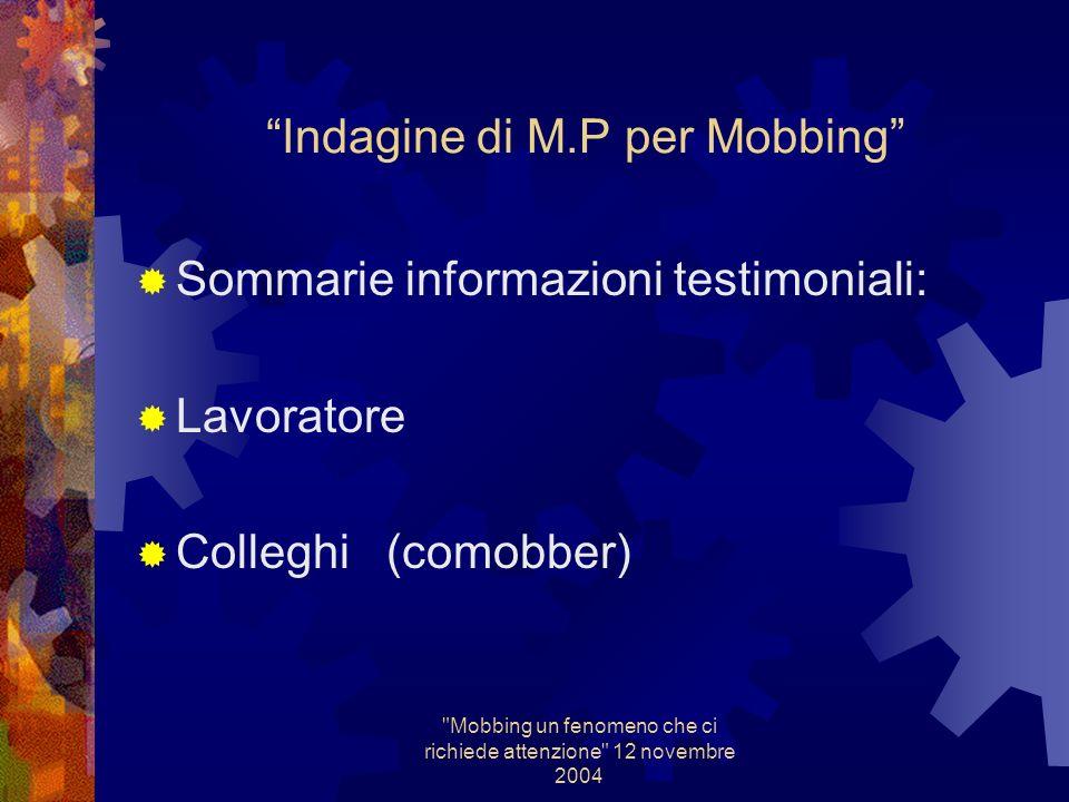 Mobbing un fenomeno che ci richiede attenzione 12 novembre 2004 Indagine di M.P Sommarie informazioni testimoniali: Lavoratore Colleghi ( solitamente solidali )