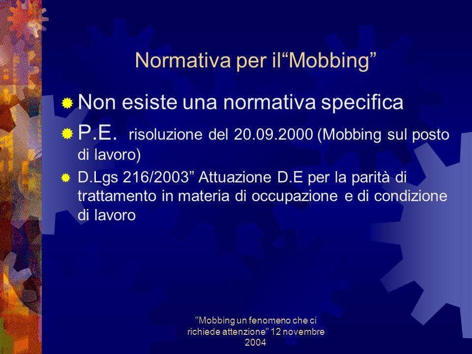 Mobbing un fenomeno che ci richiede attenzione 12 novembre 2004 Rapporto alla A.G.