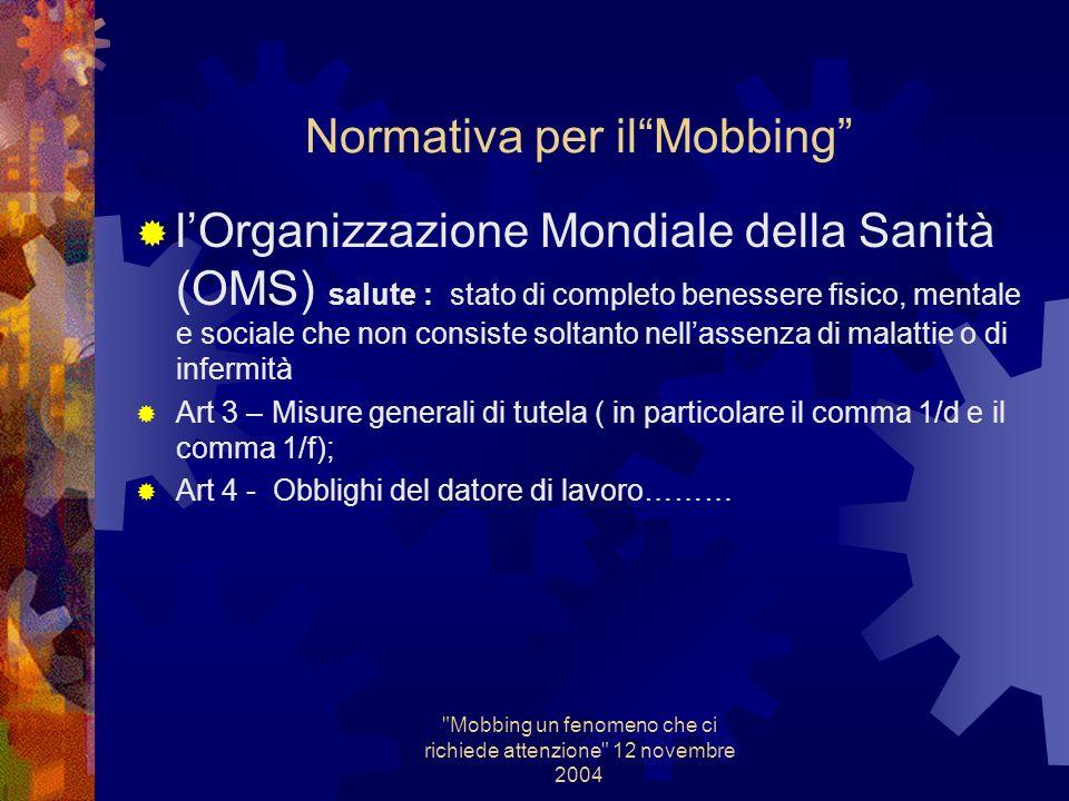 Mobbing un fenomeno che ci richiede attenzione 12 novembre 2004 Normativa per ilMobbing Non esiste una normativa specifica P.E.