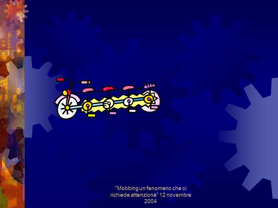 Mobbing un fenomeno che ci richiede attenzione 12 novembre 2004 Criticità Avviare percorsi formativi specifici per il personale PSAL ( attingendo a professionalità specifiche psicologo del lavoro/psichiatra ) Avviare un confronto con lA.G per definire un Modus operandi