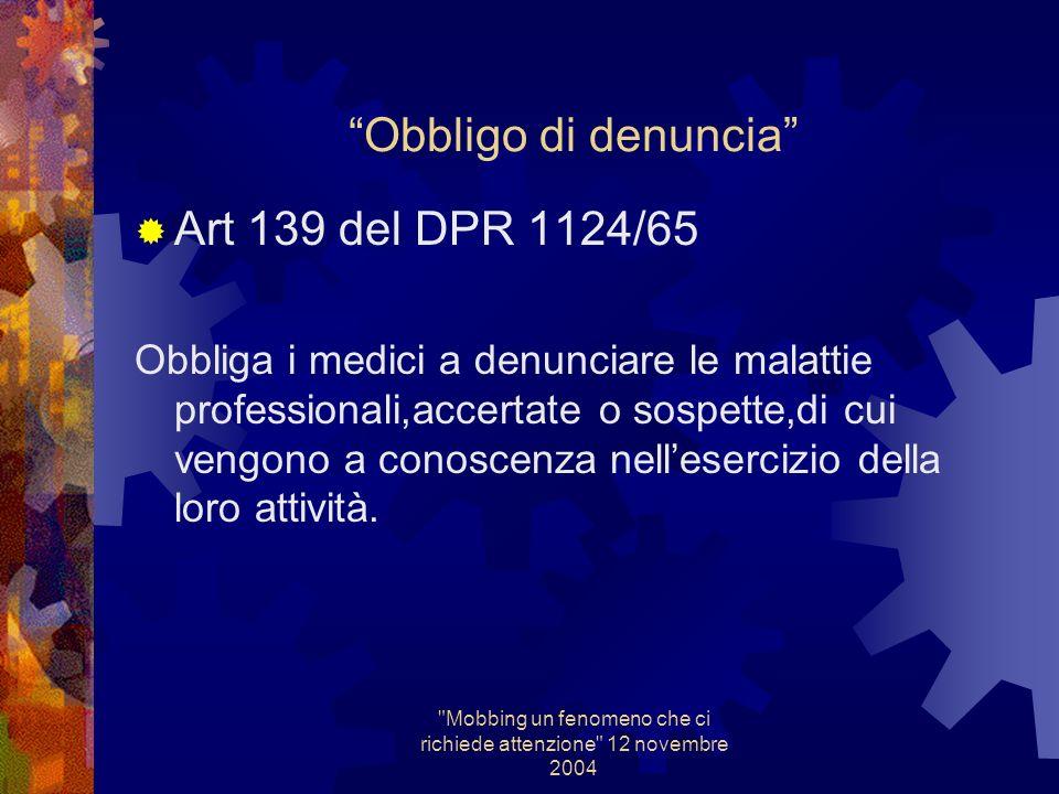 Mobbing un fenomeno che ci richiede attenzione 12 novembre 2004 Malattia professionale alterazione dello stato di salute dovuta allazione nel tempo di fattori di rischio presenti nellambiente di lavoro