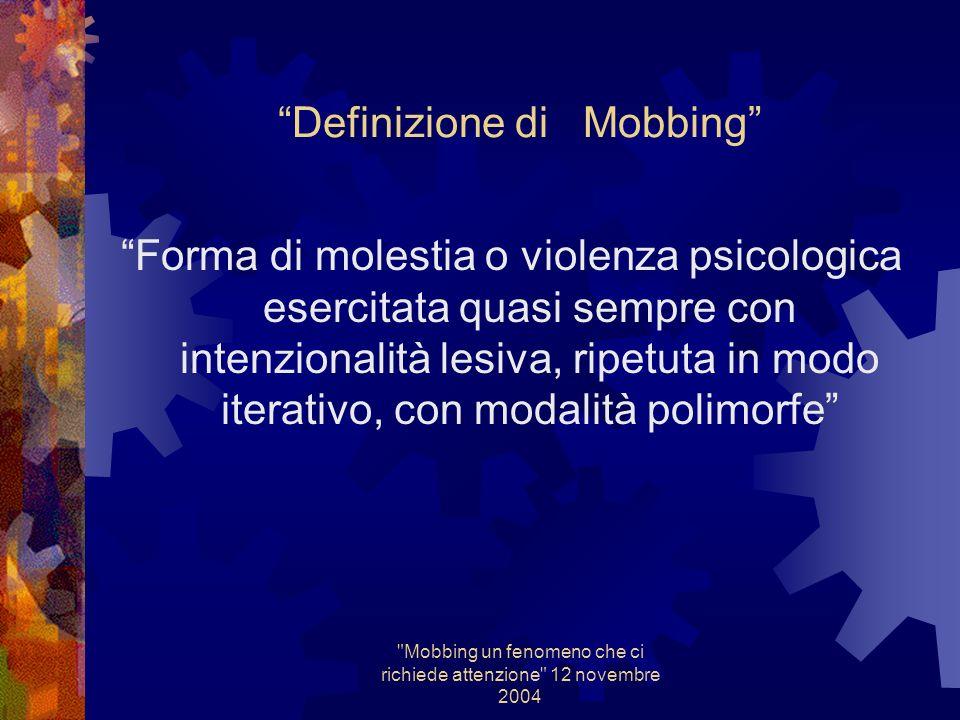 Mobbing un fenomeno che ci richiede attenzione 12 novembre 2004 Indagine di M.P Mansione Esposizione (I.A/M.B) Quadro clinico Esami ( Spiro, audio, es.ematochimici )